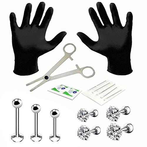 BodyJ4You 15PC PRO Piercing Kit Steel 16G Round CZ Labret Tragus Monroe Stud Barbell Body Jewelry