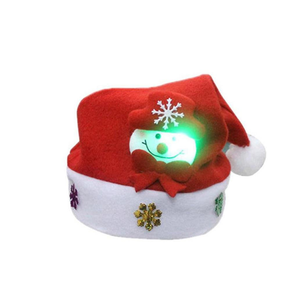 Xshuai Fashion Cute Santa Claus Reindeer Snowman Christmas Hat with LED Light Xmas Decoration Gifts for Adults Funny Festive Holiday Cap 1)