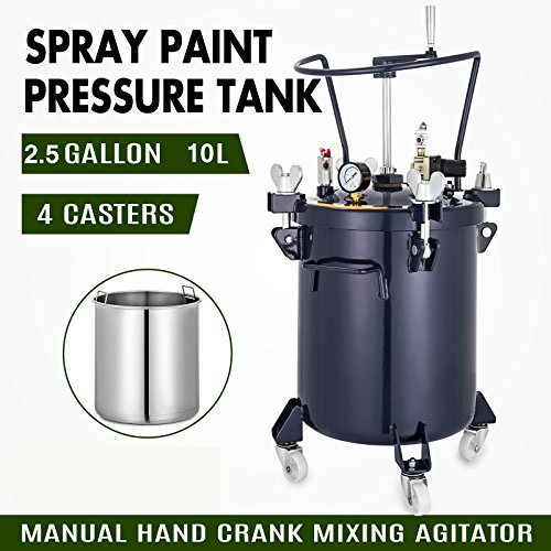 - VEVOR Pressure Pot 2.5 Gallon/10 liters Spray Paint Pressure Pot Tank with Manual Mixing Agitator Paint Tank (2.5Gal Manual)