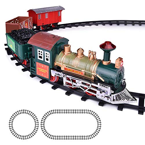 Christmas Tree Trains Sets (ArtCreativity Deluxe Train Set for Kids - Battery-Operated Toy with 4 Cars and Tracks - Durable Plastic - Cute Christmas Holiday Train for Under The Tree, Great Gift Idea for)