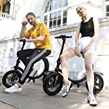 Gyroor 450W Folding Electric Bike, Up to 23MPH with 20 Miles Range, 14 Inch Air-Filled Tires, 3 Adjustable Speeds Electric Bikes for Adults with Dual Braking System