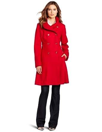 Jessica Simpson Women's Double Breasted Corset Coat, Cherry, Small