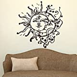 "Wall Decal Decor Sun And Moon Crescent Ethnic Dual Symbol Wall Decal Sticker Stars Night Sunshine Vinyl Wall Decals Wall Art Murals Bedroom Dorm Decor(16.5""h x16""w,Dark brown)"