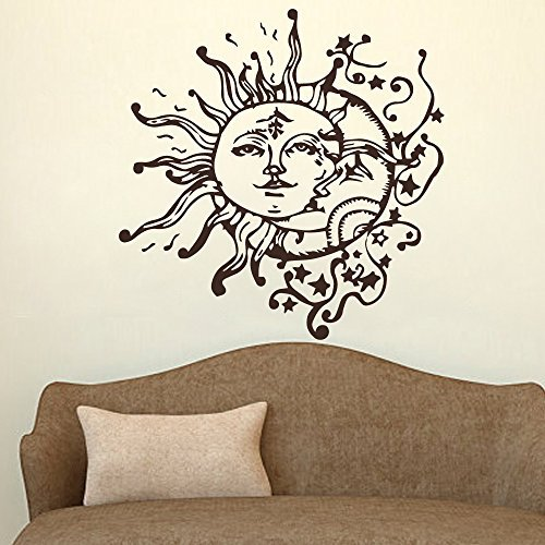 Wall Decal Decor Sun And Moon Crescent Ethnic Dual Symbol Wall Decal Sticker Stars Night Sunshine Vinyl Wall Decals Wall Art Murals Bedroom Dorm Decor(16.5
