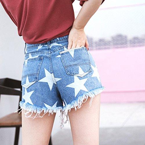 Vita Buco Vintage Blu Corti Jeans Xinwcanga Asimmetrico Pantaloncini Luce Alta Donna Shorts Denim wqY7Ox4