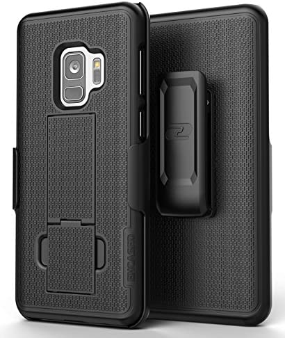 Encased Galaxy S9 Belt Clip Case, [DuraClip] Slim Fit Holster Shell Combo (w/Rubberized Grip Finish) for Samsung Galaxy S9 (Smooth Black)