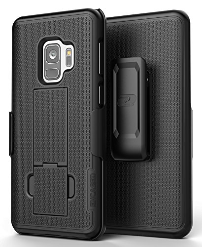 Galaxy S9 Belt Clip Case, Encased [DuraClip] Slim Fit Holster Shell Combo (w/ Rubberized Grip Finish) For Samsung Galaxy S9 – 2018 Release (Smooth Black)