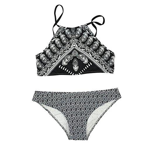 Cupshe Fashion Women's Feather Printing Black Tank Padding Bikini Bathing Suit (S)