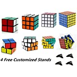 D-FantiX Shengshou Speed Cube 2x2 3x3 4x4 5x5 Bundle Magic Cube Puzzle Toy Set of 4 Black