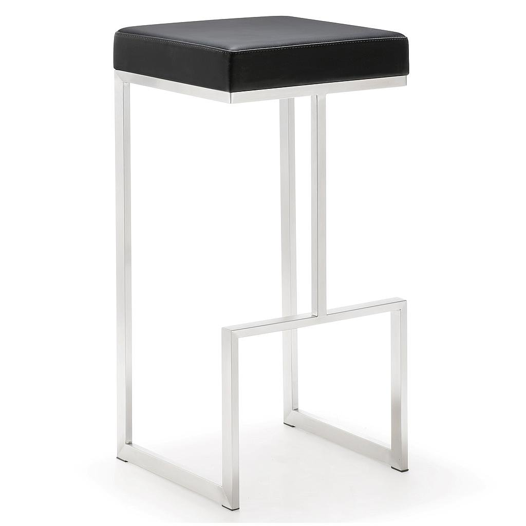 TOV Furniture The Ferrara Collection Modern Style Kitchen Bar Area Eco-Leather Upholstered Steel Barstool, Black