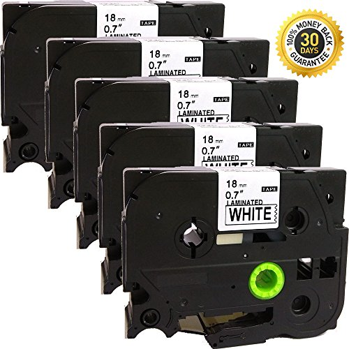 Machine 2700 Labelling Pt (NEOUZA 5PK Compatible For Brother P-Touch Laminated Tze Tz Label Tape Cartridge 18mm x 8m (TZe-241 Black on White))