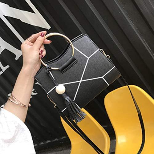 grande mujeres PU bolsos bolso borlas madera diseño Formulaone hombro la de elegante de anillo de mango del de cuentas Encantador cuero de bolsos crossbody tqUAP