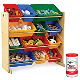 Tot Tutors Kids 12 Plastic Bin Toy Storage Organizer in Primary with Antibacterial Hand Wipes