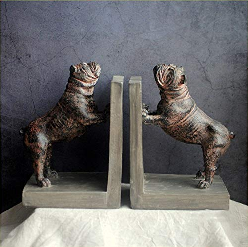 ZY&DD European Retro Resin Bookends,Bulldog Book Decoration,Study Decoration Decoration,Bookends for Shelves