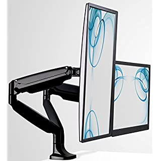 Mount-It! Dual Monitor Arm Mount | Desk Stand | Two Articulating Gas Spring Height Adjustable Arms | Fits 2 x 24 27 29 30 32 Inch VESA 75 100 Compatible Screens | C-Clamp and Grommet Bases