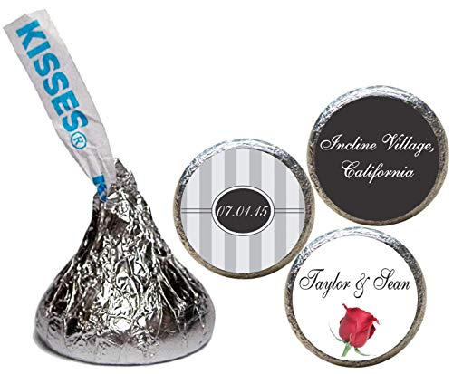 Wedding Stickers for the bottom of chocolate Kisses, Personalized (set of 108)(RStripes) ()