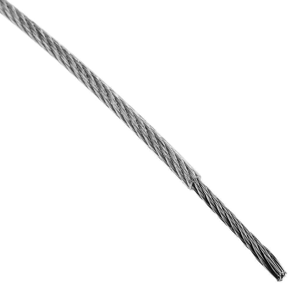 BeMatik - Cable de Acero Inoxidable de 3,0 mm. Bobina de 25 m. Recubierto de plástico Transparente