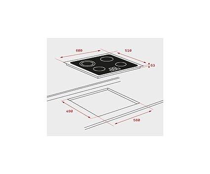 Teka TZ6320 Integrado Cerámico Negro - Placa (Integrado, Cerámico, Vidrio, Negro, 12 cm, 14,5 cm)