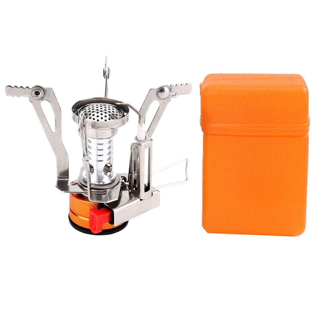 Romote Camping Stove Gas Burner with Piezo Ignition Mini Folding Windproof with Carrying Case for Outdoor Camping Cooking