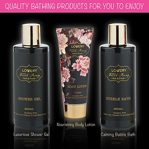 Home Spa Gift Basket, Luxury 8 Piece Bath & Body Set For Men and Women, Fresh Peony Scent - Contains Shower Gel, Bubble… 4
