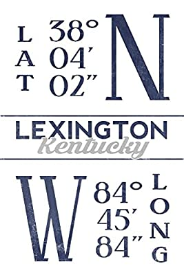 Lexington, Kentucky - Latitude and Longitude (Blue) (12x18 Collectible Art Print, Wall Decor Travel Poster)