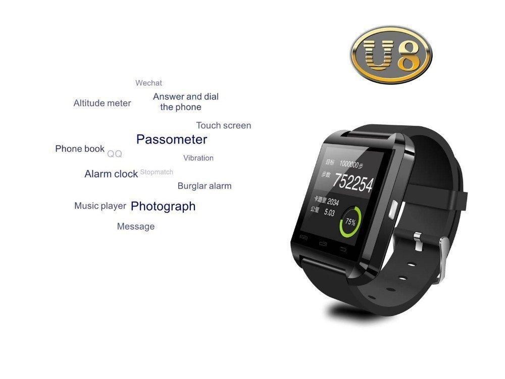 Lenofocus Uwatch U8 2014 Montre connectée avec Bluetooth Compatible avec smartphones iOS et Android, iPhone 4/4s/5/5c/5s, Samsung S2/S3/S4/Note 2/Note 3, ...