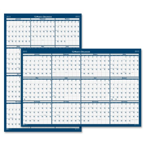 "House of Doolittle Laminated Poster Style Yearly Wall Calendar, Vertical & Horizontal Formats, January-December, 2013, 32"" x 48"""