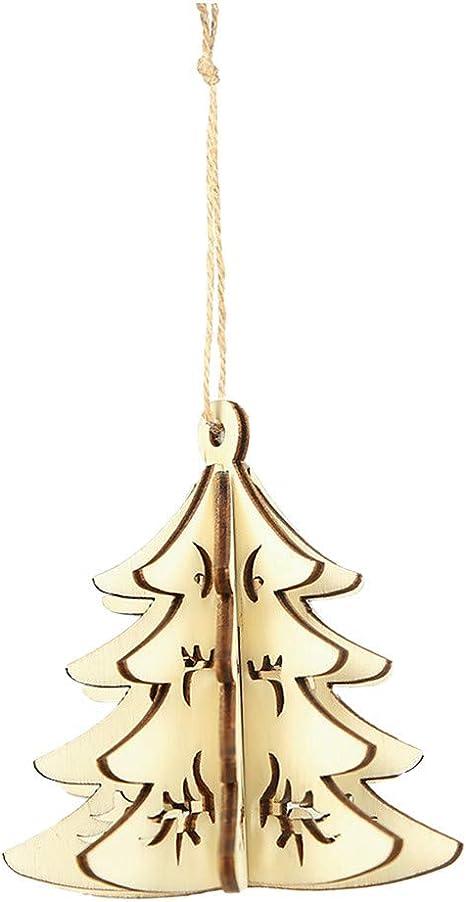 Wood Gift DIY Pendant Decorations Christmas Decor Xmas Tree Ornaments 3D