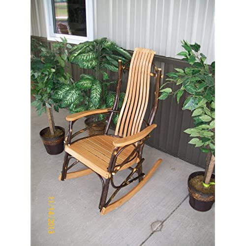 Rustic Hickory U0026 Oak Rocker *Natural Stain* Rustic Furniture Amish Made In  USA