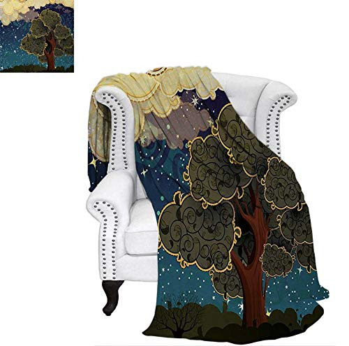 (Digital Printing Blanket Funk Art Stylized Vibrant Starry Night Sky with Puffy Clouds and Tree Illustration Print Summer Quilt Comforter 62