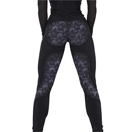 f0ff17208ba8d Amazon.com: Yucode Women High Waist Fashion Stars Print Elastic ...