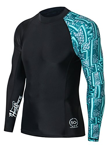 HUGE SPORTS Men's Splice UV Sun Protection UPF 50+ Skins Rash Guard Long Sleeves(Zigzag, ()