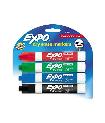EXPO Dry Erase Markers with Chisel Tip -4 per Set , Assorted color (Pack of 2 , Total 8)