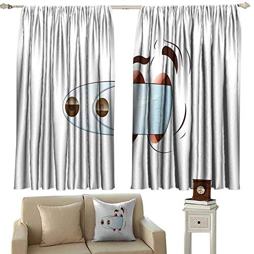 DUCKIL Warm Curtain Eye Fun Caricature of Goofy Character Taken by Surprise Eyes Coming Out of Head Noise Reducing Curtain W63 xL72 Pale Blue Coral Brown -