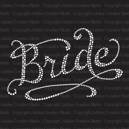 Romantic Bride Iron On Rhinestone Crystal T-Shirt Transfer by JCS Rhinestones