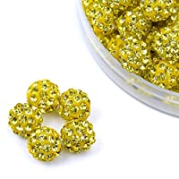 iCherry(TM) 10mm 100pcs/Lot Lemon-Yellow Color Clay Pave Disco Ball for Rhinestone Crystal Shamballa Beads Charms Jewelry Makings