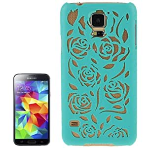Hollow Out Rose Flowers Pattern Protective Case Cover Disco Carcasa Para Samsung Galaxy S5 (Turquoise)