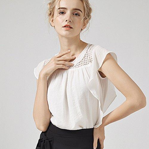 Mangas Blanco Tamaño Simple Mujer De Blanca Blusa Verano Sin Metro Color Zt6Px8zq