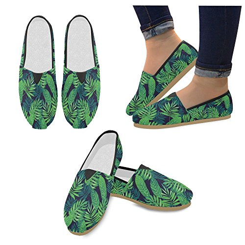 D-Story Fashion Sneakers Flats Watercolor Palm Tree Leaves Womens Classic Slip-on Canvas Shoes Loafers jS88xP0ylO