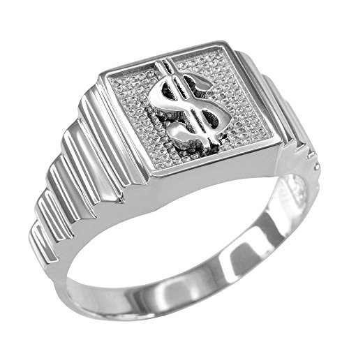 Men's Polished 925 Sterling Silver Layered Band Square Face Dollar Sign Ring (Size -