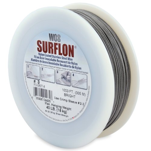 Surflon Size 3-40-Pound Break 1000-Feet Crimping Picture Wire Nylon Coated Stainless Steel, Bright
