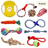 Pedy Dog Rope Toys Set, Pet Play Toys 10 Pack, Puppy Chew Teething Toys, Dog Cotton Ball Rope Toy Assortment Gift Set Small Medium Large Dogs Doggies