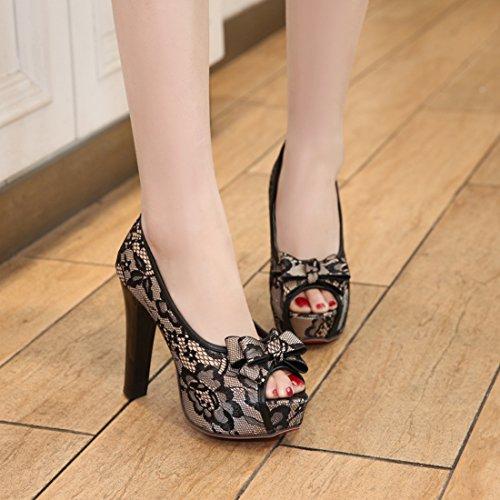 YE Damen Peep Toe Pumps Blockabsatz High Heels Plateau mit Spitze und 12cm Absatz Elegant Schuhe Schwarz