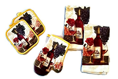 Wine Bottle And Glass Linen 5 Piece Bundle Package Oven Mitt