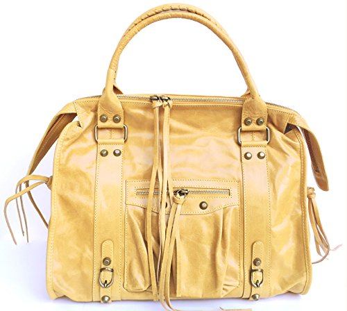 Xl In Italy Leather Effect Calfskin Barcellona Genuine Yellow Aged Mirror Italian Women's Handbag Lux Made Superflybags Model Z6pPfSZ