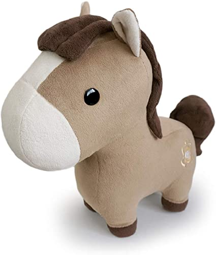 """Plush RED Farm Backpack  with 4-8/""""  Stuffed Friendly Brown Black White Horses"""