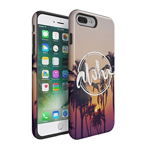 - Aloha Tropical Palms Summer Paradise Double Layer Hard PC Armor & Shock Absorbing TPU Tough Cover Shell for iPhone 7 Plus Case