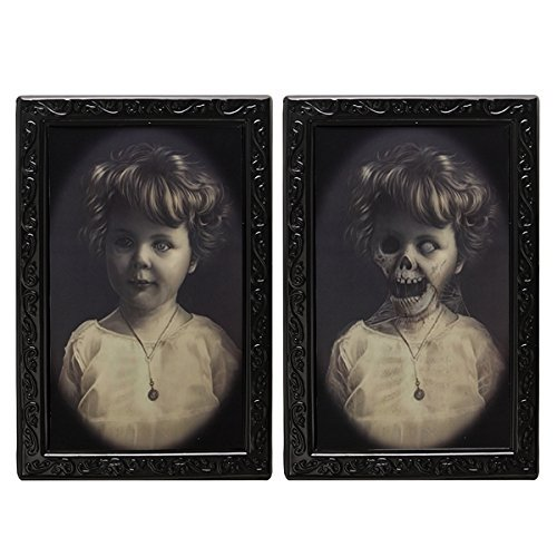 UIYTR Halloween Lenticular 3D Changing Face Horror Portrait Haunted Spooky Halloween Decorative Painting Frame Props -