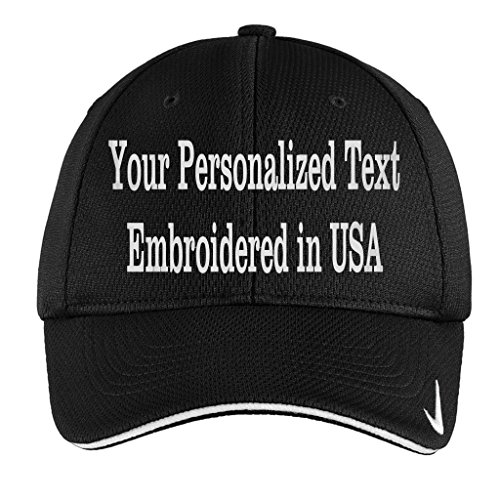 UNAMEIT Personalized Embroidery On Nike Golf - Dri-Fit Cap. Mesh Swoosh Flex Sandwich. (Black, M/L (Swoosh Flex Cap)