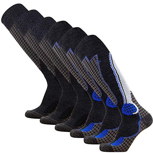 Pure Athlete High Performance Wool Ski Socks – Outdoor Wool Skiing Socks, Snowboard Socks (Black/Silver (3) + Black/Blue (3) - 6 Pack, Large)